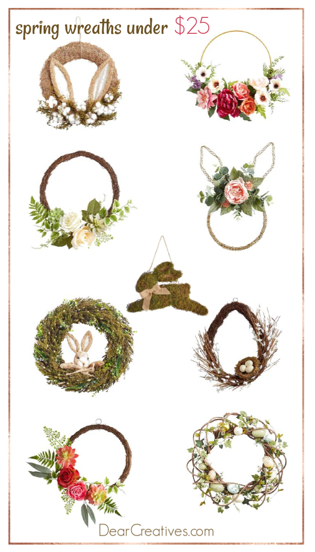 Spring wreath ideas - Spring wreaths to buy and make. DearCreatives.com #springwreathideas #springwreaths #wreaths #easterwreaths width=