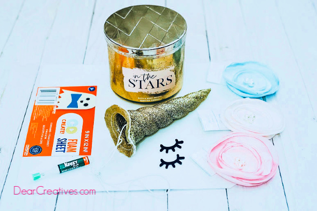 Supplies for making a unicorn jar topper. This is an easy diy unicorn craft find this step by step tutorial with images at DearCreatives.com