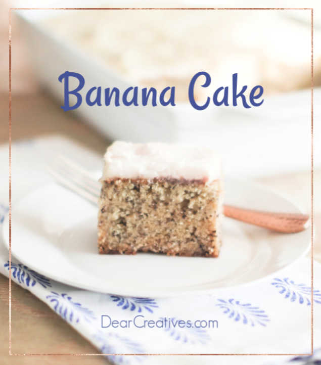 banana cake easy to make, with cream cheese frosting © DearCreatives.com #bananacake #bananacakerecipe #bananacakecreamcheesefrosting #easy #tasty #moist #homemade #scratch #baking #bakingrecipe