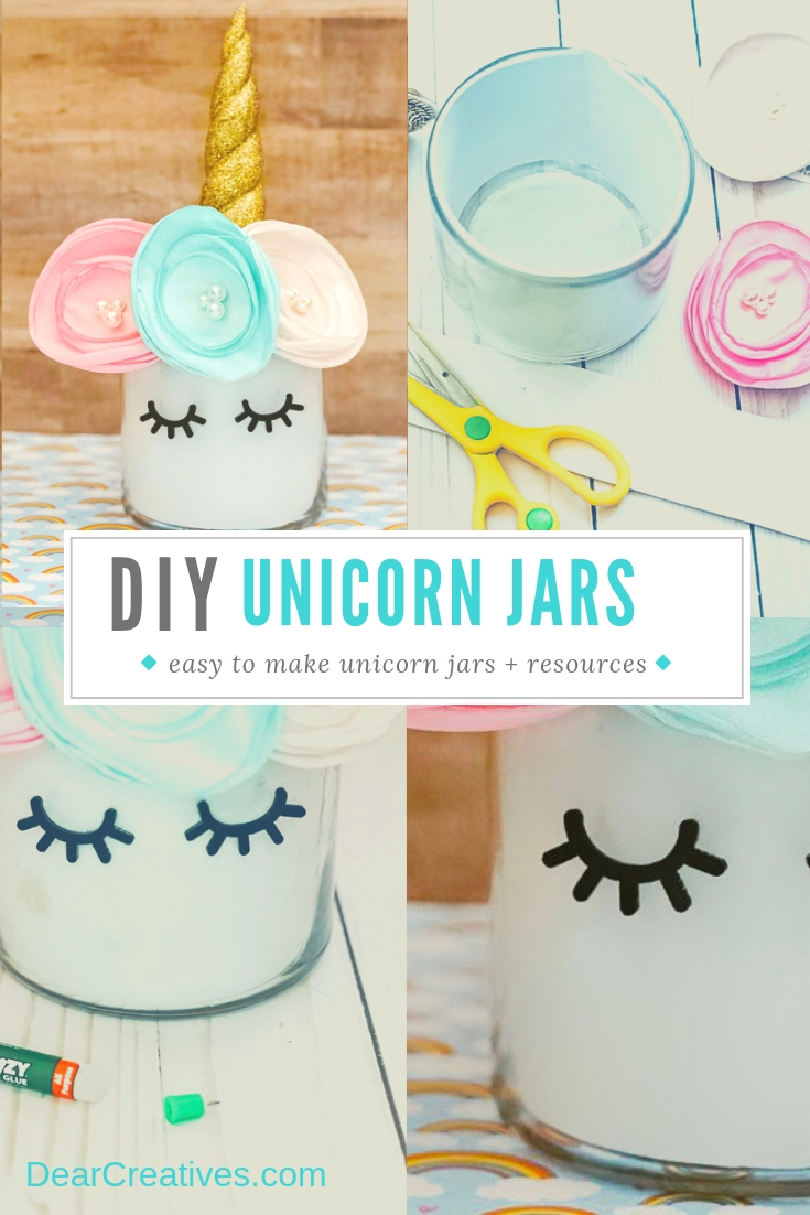 unicorn Jars - use this diy to make one or many unicorn jars. Step by step instructions. Use for unicorn centerpieces, unicorn parties, unicorn decor or unicorn gifts. DearCreatives.com #unicornjars #unicornjarsdiy #unicorncenterpieces #unicorndiys
