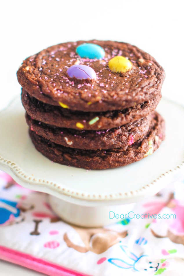 Brownie Mix Cookies With M&M's