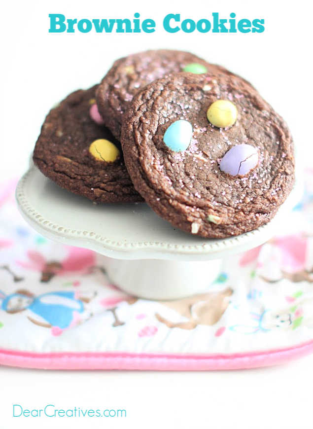 Brownie Cookies With M & M's make this easy brownie cookie from a mix. They will never know! Chewy, fudgy, chocolaty goodness! Recipe at DearCreatives.com