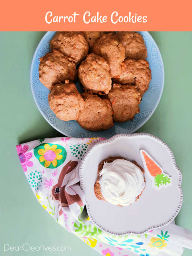 Carrot Cake Cookies looking down at cookies on a two serving plates.-You can bake, these cookies then frost them or make them into sandwich cookies. Great for spring celebrations like Easter.DearCreatives.com #carrotcakecookies #cookierecipes #dearcreatives