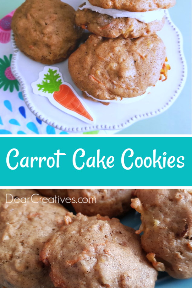 Carrot Cake Cookies -Easy to make, bake and serve. Can be unfrosted, frosted or made into sandwich cookies. Frosted and made into sandwich cookies are easy and worth the extra step! Grab the cookie recipe at #carrrotcakecookies #carrotcookies #carrots #pineapple #frosted #cookiesandwich #cookierecipe #cookierecipes #dearcreatives
