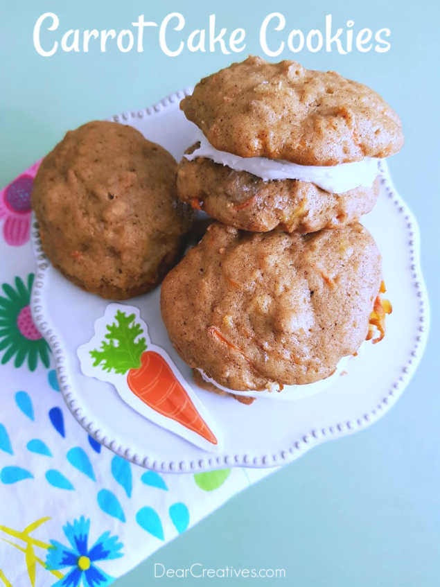 Carrot Cake Sandwich Cookies - make these carrot cookies unfrosted, frosted or in sandwich cookies. Grab the carrot cake cookies recipe at DearCreatives.com- #carrotcakecookies #carrotcakesandwichcookies #recipe #cookierecipes #dearcreatives