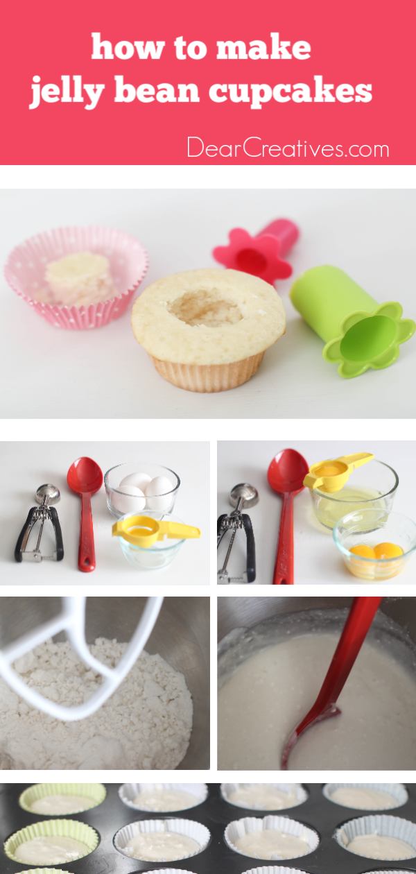 Tips for making vanilla cupcakes stuffed with jelly beans - DearCreatives.com