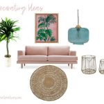 Living room with a pink velvet sofa and decor accents pieces - Decorating ideas at DearCreatives.com #roommakeover #decoratingideas #decor #tips