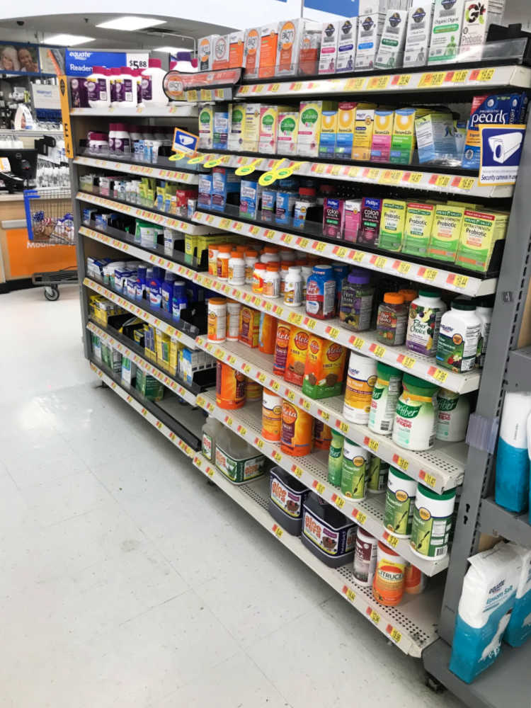Metamucil Premium Blend near by the pharmacy inside of Walmart - in store photo of where you can purchase product.