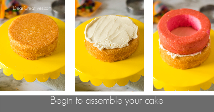 Next, begin to assemble your cake by adding frosting and layers. DearCreatives.com