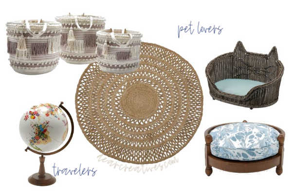 Pamper your pets with a new pet bed. Add baskets for their toys. Accents like a round jute rug and flower globe. See more decor ideas at DearCreatives.com #homedecorideas #style #decor #decoratingtips
