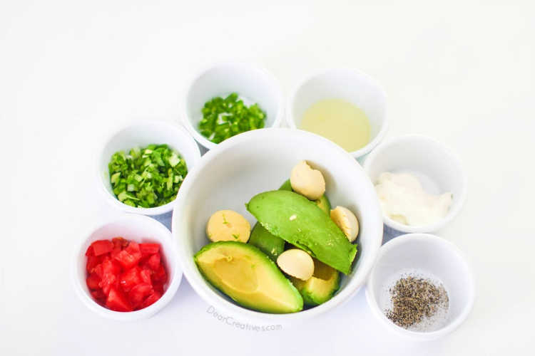 ingredients for making healthy deviled eggs - guacamole deviled eggs © 2019 DearCreatives.com