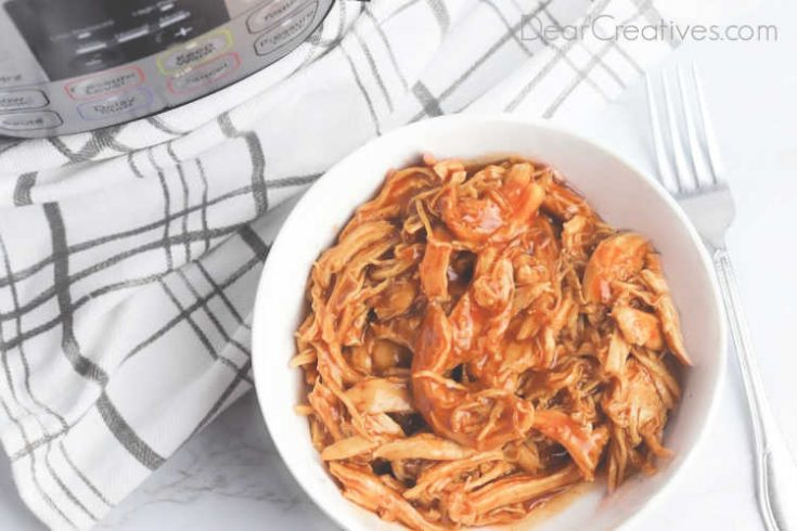 instant pot BBQ chicken in a bowl ready to serve. BBQ chicken dinner. Add the cooked bbq chicken to buns, next to or on mashed potatoes and you have a dinner on the table quickly. © 2019