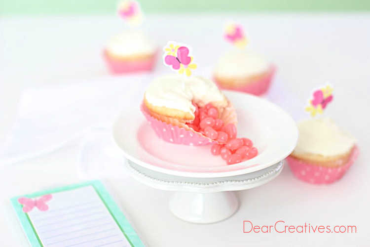 DIY, how to and recipe plus tips and tools for how to make jelly bean cupcakes at DearCreatives.com