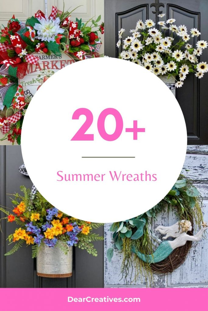 20+ Summer Wreaths To Kick Off Your Homes Summer Vibe! Hang these summer wreaths in your home or use them for summer door wreaths. DearCreatives.com #summerwreaths
