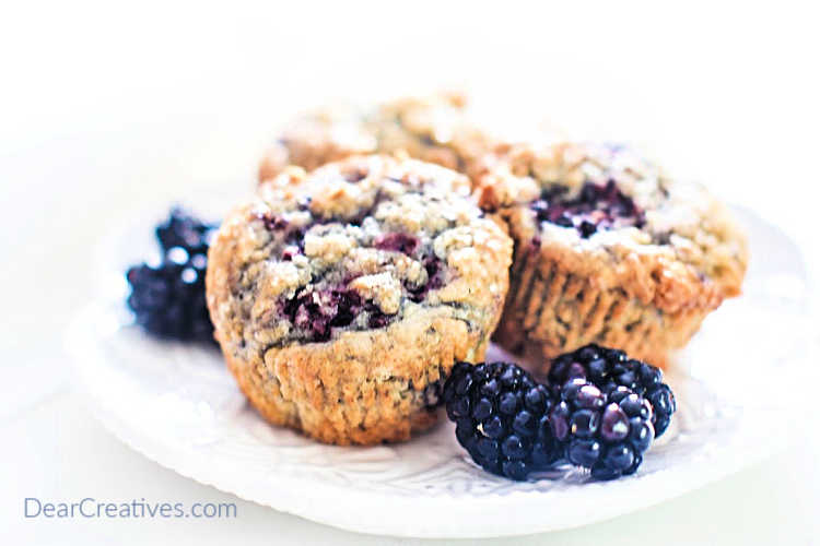 Blackberry muffins recipe - Easy delicious blackberry muffins. Winning blackberry muffins recipe! DearCreatives.com