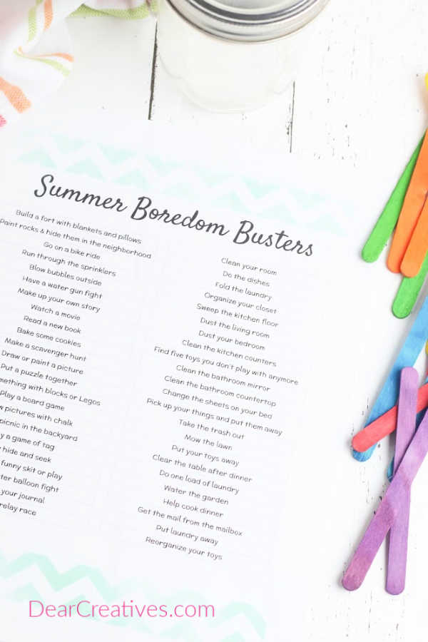 Kids Activity Jar Diy Summer Bucket List Dear Creatives