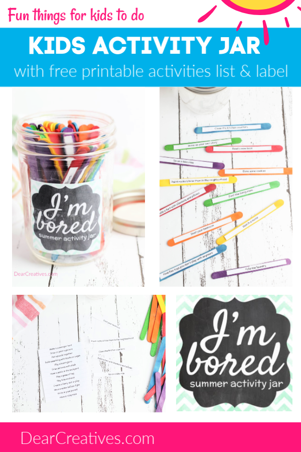 Kids Activity Jar DIY - With Free Printables kids activities, and jar label. See all the ideas for summer fun!