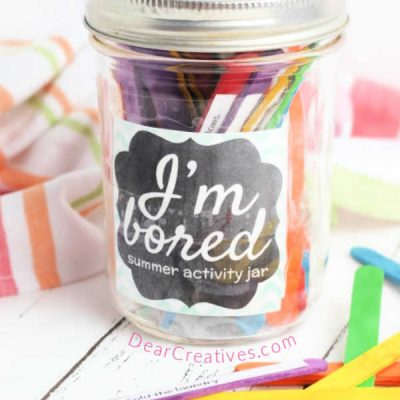 Kids Activity Jar DIY - comes with free printable kids activity list and craft ideas for kids. See all the ideas for summer fun with the kids at DearCreatives.com
