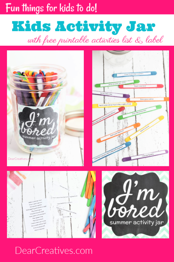 Kids activity jar DIY, kids activities, kids crafts and free printable plus label. The fun doesn't stop there see the kids activities and crafts for kids.Keep them busy and happy! DearCreatives.com