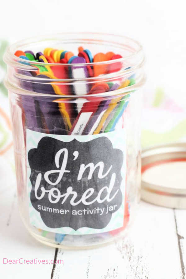 Popsicle Stick Activity Jar- With free printable boredom busters for kids DearCreatives.com
