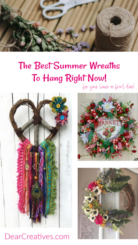 Summer Wreaths- Hang these handmade wreaths in your home, at the beach house or on your front door for decorations. Nothing says summer like a pretty summer wreath added to your home decor. DearCreatives.com #summer #wreaths #homedecor