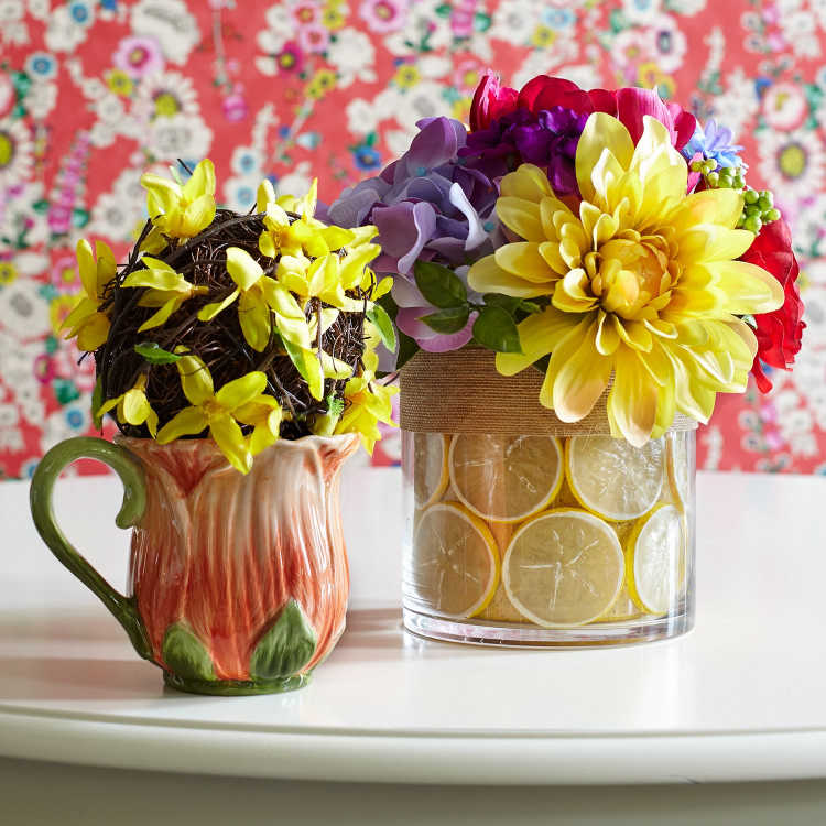 Summer flower arrangement with faux flowers and lemons