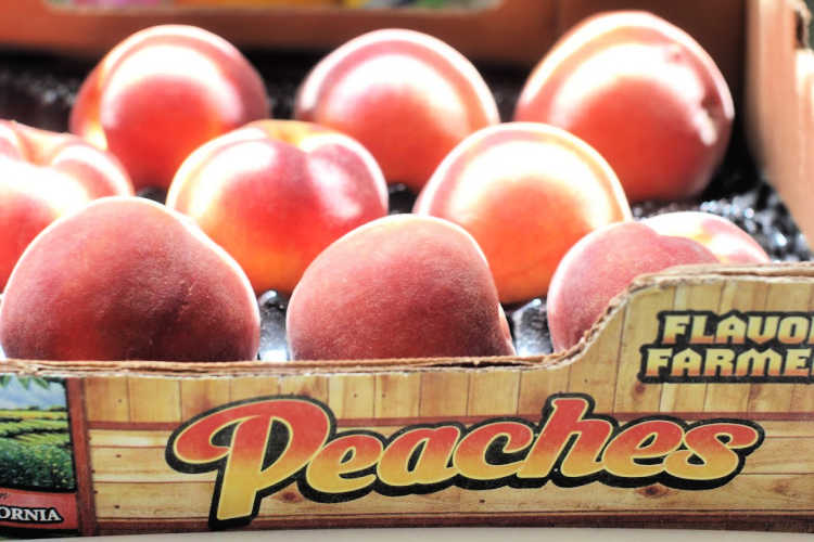 Crate of peaches - ready to peel and make peach recipes. DearCreatives.com