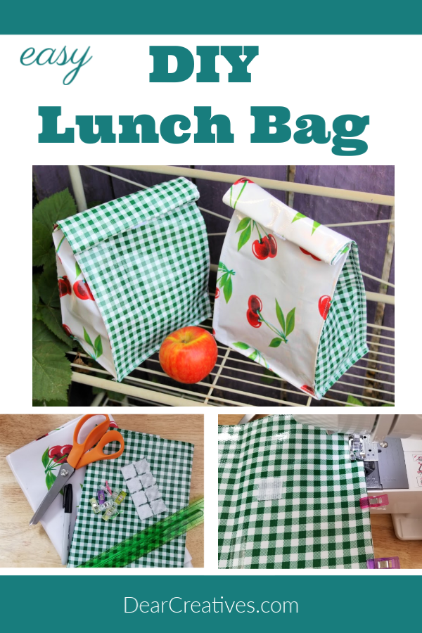 DIY Lunch Bag - How to sew a lunch bag. Instructions with images and tips for sewing one with or without using oil cloth fabric. DearCreatives.com #diylunchbag #howto #diy #sewing #lunchbag #reusablelunchbag