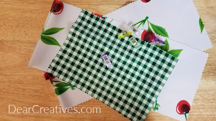 Oilcloth Lunch Bags Supplies and Steps 1-2 how to sew a cloth lunch bag. DearCreatives.com