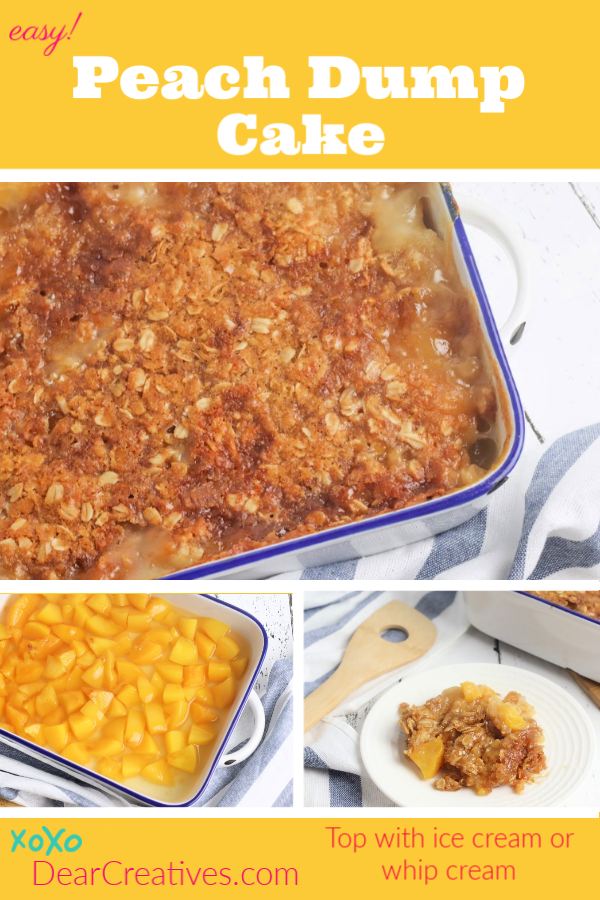 Peach Dump Cake - Easy to make, bake and serve. A delicious peach cake that can be made anytime of year. Serve it warm. Topped with ice cream or whip cream. Hello crowd pleaser! DearCreatives.com #peachdumpcake #peachcake #easy #easycakerecipes #recipeswithpeaches