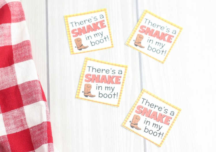 There's a snake in my boot Toy Story saying free printable, DIY, mason jar treat recipe DearCreatives.com
