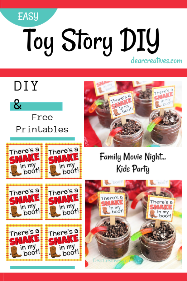 Toy Story Idea - Pudding Cups for Kids with Free Toy Story Printable. Use for Toy Story Party ideas, cowboy themed parties or family movie night. Grab free printables and DIY DearCreatives.com