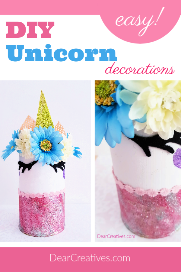Unicorn Decoration for a bedroom - Make this unicorn idea. The unicorn craft comes with step by step instructions with images and is easy to make! Save it Now Or See it! DearCreatives.com #unicornideas #unicorndecorations #diyunicorn #unicornroomdecor
