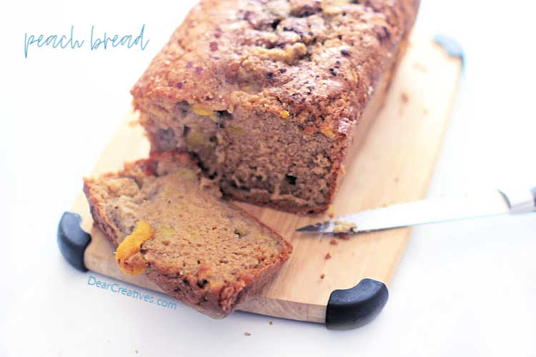 When peach bread is cooled it is ready to slice and serve. Grab the recipe at DearCreatives.com