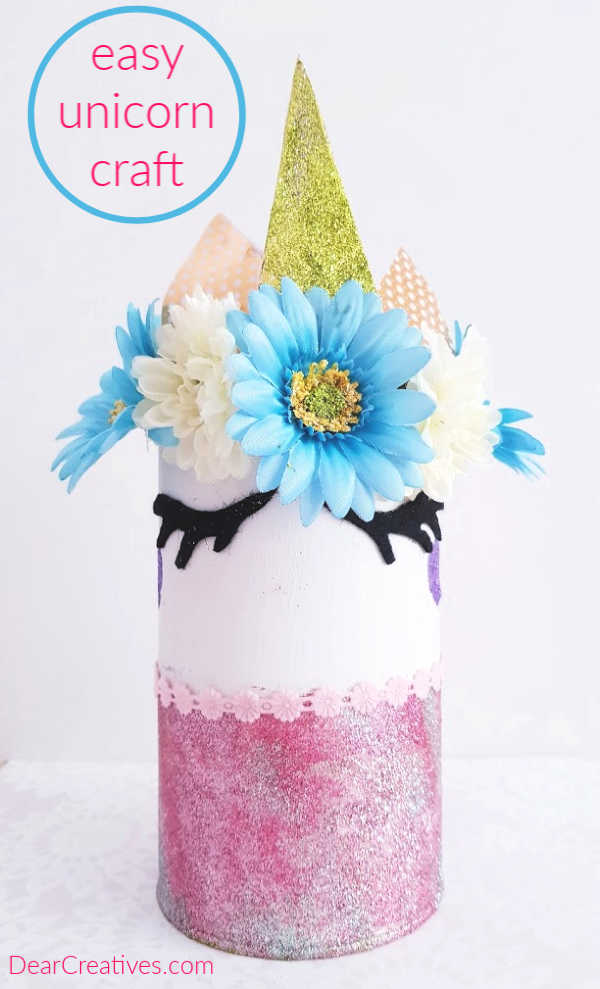 easy unicorn craft - decorated unicorn room decor - see how to make a unicorn with a can. DearCreatives.com