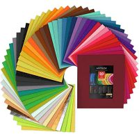 """ARTEZA 50 Assorted Stiff Felt Fabric Sheets, 12""""x14"""" Squares, 1.5mm Thick for DIY Crafts, Sewing, Crafting Projects"""