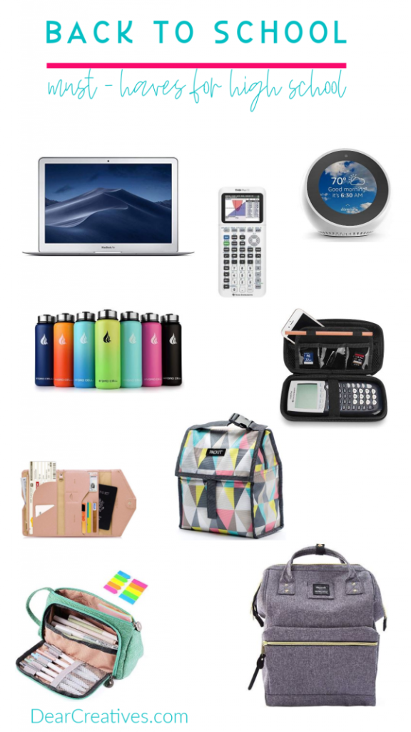 Back To School - Must-have high school supplies. Plus other back to school ideas. See them all at DearCreatives.com #backtoschool #supplies #ideas #highschool