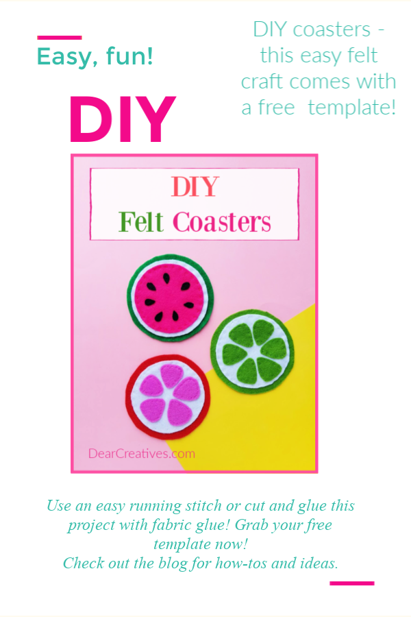DIY Felt Coasters - Grab the free fruit templates and start making this easy felt craft project now! DearCreatives.com