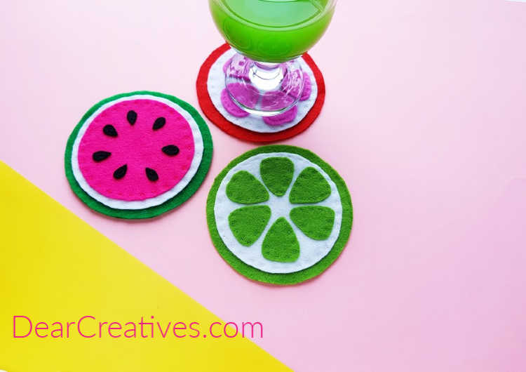 Felt Coasters - Watermelon felt coaster, lime felt coaster, green lime punch. See how to and orange coaster. Coasters made from felt. Find this DIY with free printable template at DearCreatives.com