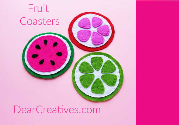 Felt coasters that were hand sewn. They are easy to make and come with a fruit template. See how to and DIY felt coasters at DearCreatives.com