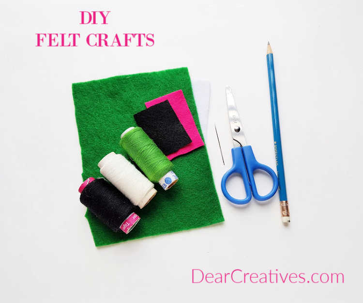 Felt-threads-needle-scissors-for-crafting-with-felt.-Instructions-for-felt-crafts-at-DearCreatives.com