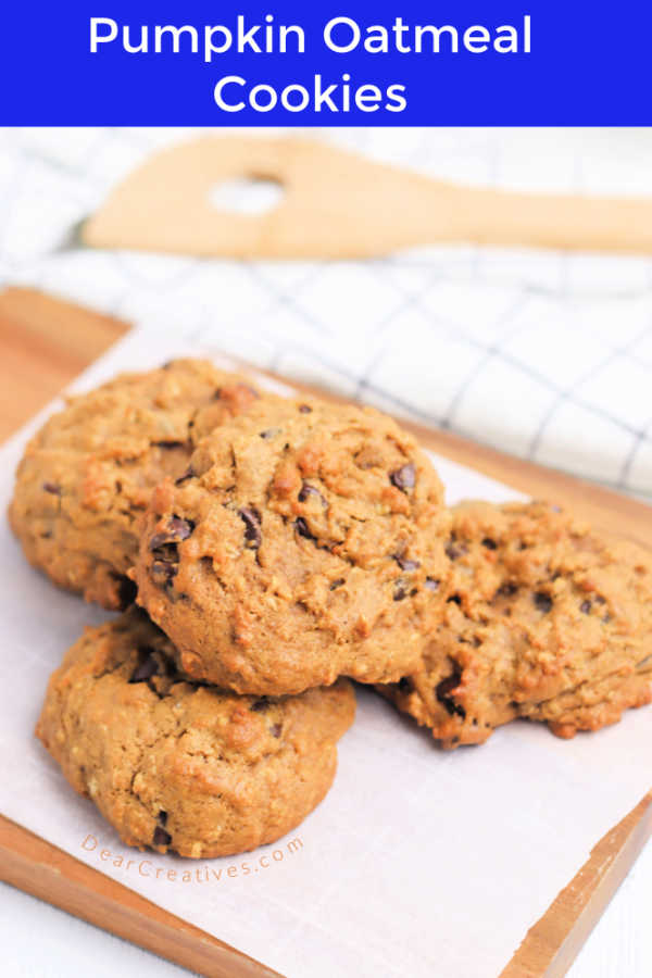 Pumpkin Oatmeal Cookies with chocolate chips. Grab the recipe to see all the variations you can make of these pumpkin cookies. Bonus, they are gluten-free. DearCreatives.com