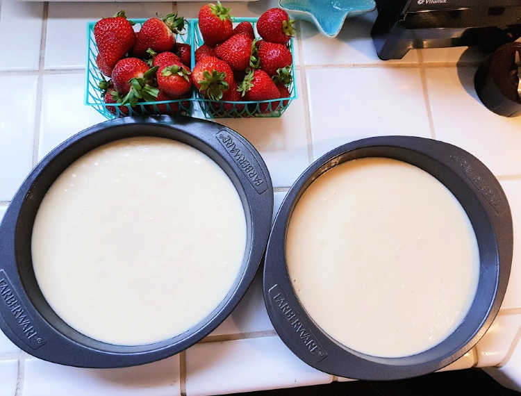 Vanilla cake batter in pans ready to be baked, for cake with fresh strawberries. DearCreatives.com