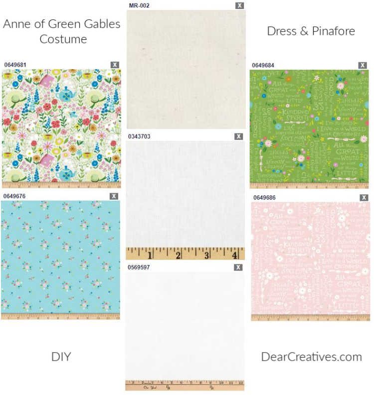Anne of Green Gables Fabrics and how to an Anne of Green Gables Costume. DIY Costume at DearCreatives.com