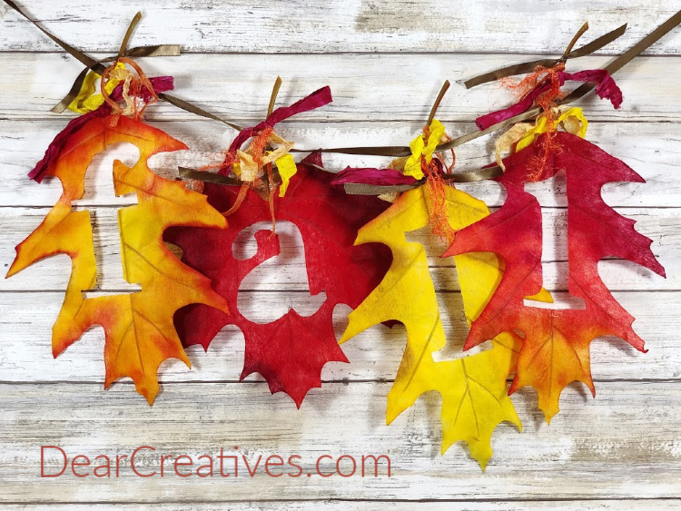 Fall leaf banner - how to make a simple banner and other fun fall craft ideas at DearCreatives.com