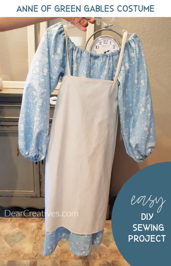 Finished costume on a hanger. See pattern, sewing tips and how-to _ Anne of Green Gables Costume at DearCreatives.com