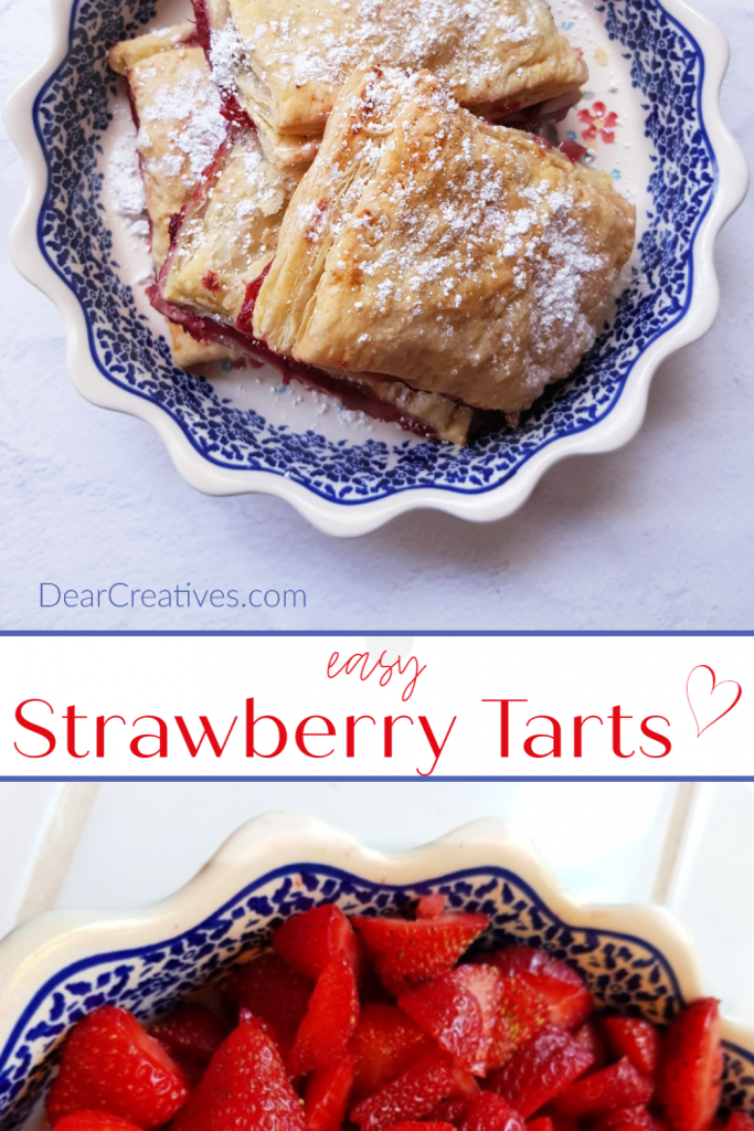 Strawberry Tarts - The tarts are made with puff pastry, this is an easy recipe. Perfect for breakfast, brunch or as a dessert. DearCreatives.com #strawberrytarts #easy #strawberrytartswithpuffpastry #tartsrecipes #strawberryrecipes