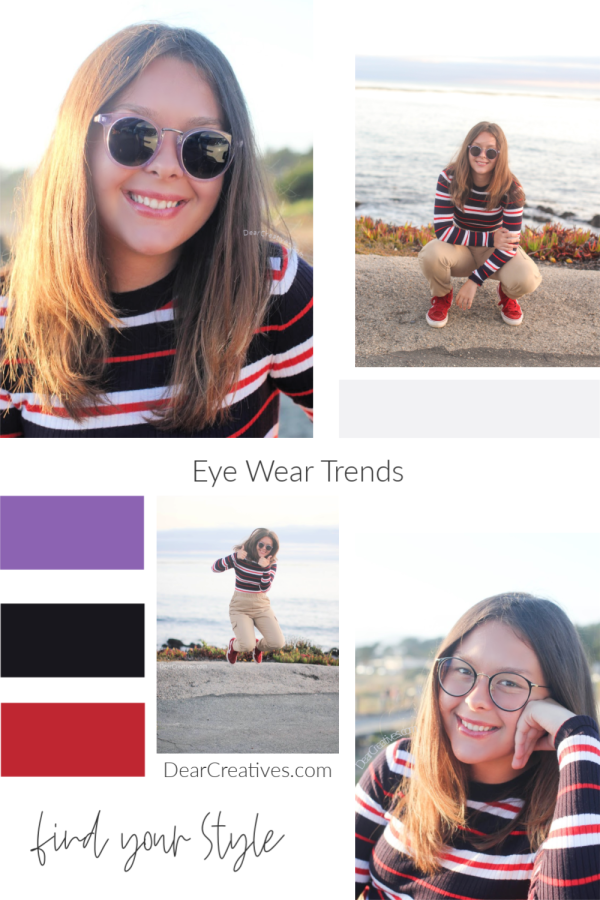 Stylish eyeglasses and sunglasses. Eye wear trends- how to find your style. See how to select the style that will look best on you! DearCreatives.com #style #eyeglasses #sunglasses