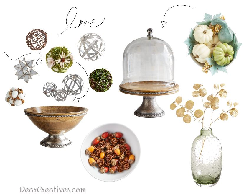 home decor ideas with a glass cake dome, fall accents, decorative spheres and bowl fillers, What to add to glass domes and decorative bowls. DIY glass domes - DearCreatives.com
