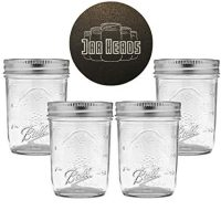 Ball Mason Jars 8 oz Bundle with Non Slip Jar Opener- Set of 4 Half Pint Size Jelly Mason Jars with Regular Mouth - Mini Canning Glass Jars with Lids and Bands